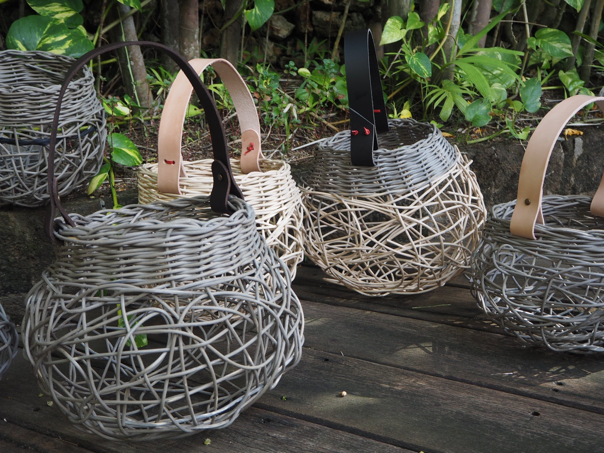 Weaving Woven Basket with Leather Handle - Pubs and Clubs